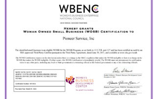 Pioneer Service Inc Women Owned Small Business Certificate