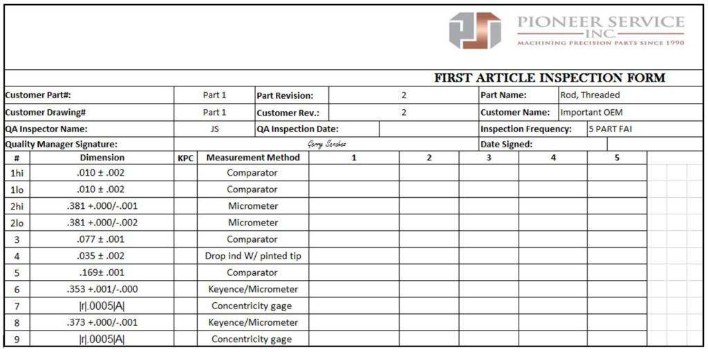 Pioneer Service FAI Example Report_09.22.20